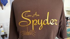 Can Am Spyder Gold Glitter and Rhinestone Spider on a Brown Shirt