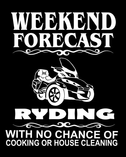 Can Am Spyder - Weekend Forecast  - Ladies V-Neck and Crew Necks Size Black Short Sleeve Shirts