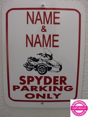 Can Am Spyder - Personalized Two Name Parking Sign