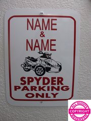 Can Am Spyder RS Personalized Two Name Parking Sign