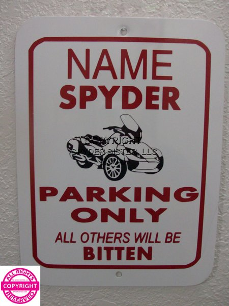 Can Am Spyder ST Limited Personalized Single Name Parking Sign
