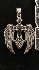 Angel Wing Cross with Black Crystal Stones - Pendant