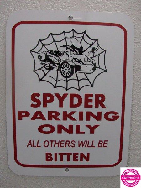 Can Am Spyder ST Limited Spider Web Parking Sign