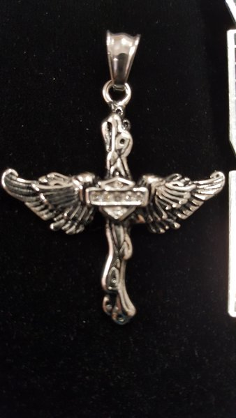 Cross with Angel Wings with Clear Crystals- Pendant