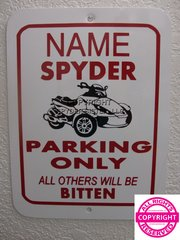 Can Am Spyder RS Personalized Single Name Parking Sign
