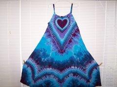 Heart Super Vee Purple Blue Gradient Long Dress