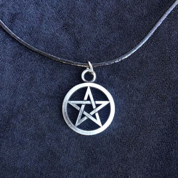 Pentacle symbol witchcraft witch pentagram necklace cord pentacle pendant on cord aloadofball Images
