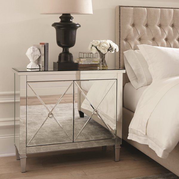 Mirrored Accent Cabinet End Table Nightstand by Scott Living La