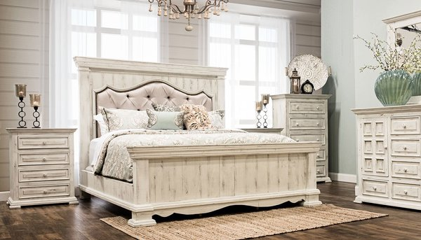King Padded Bedroom set | Distressed White | king bed, dresser ...