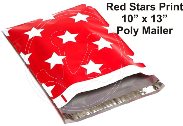 """Red Stars Print Poly Mailers 10"""" x 13"""""""