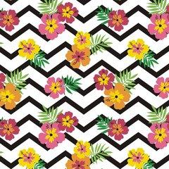Floral Stripes Chevron Pattern Digitally Printed