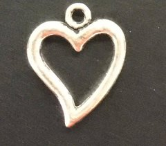 Floating Heart Charm Tibetan Silver Metal