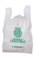 """Plastic """"Merry Christmas"""" Holiday T-Shirt Bag"""