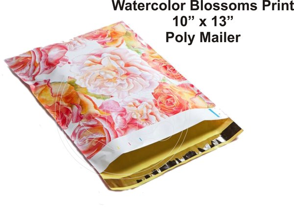 """Watercolor Blossoms Print Poly Mailers 10"""" x 13"""""""