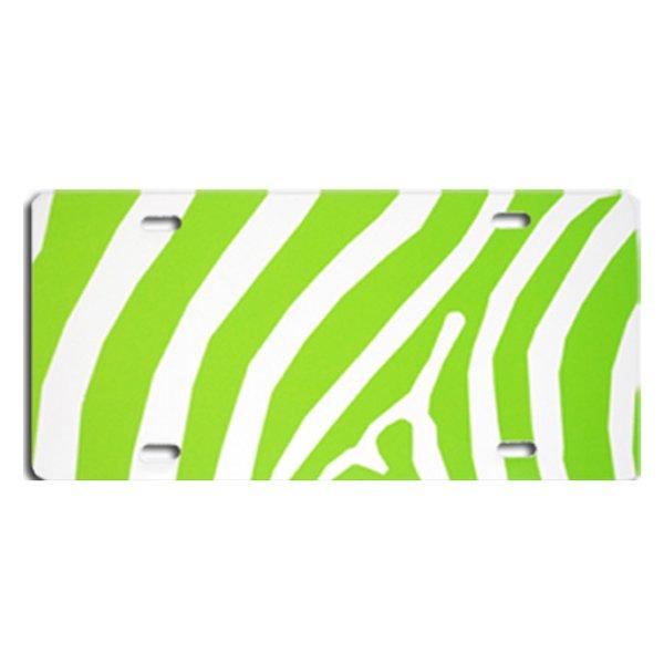 Lime ZEBRA PRINT Heavy Plastic License Tag Blanks