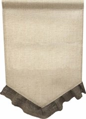 BURLAP Jute Garden Flag with Colored Ruffle - Brown