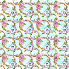 Spring & Bird House Patterns Digitally Printed