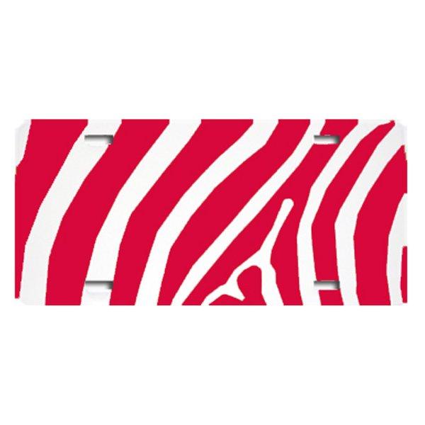 Red ZEBRA PRINT Heavy Plastic License Tag Blanks