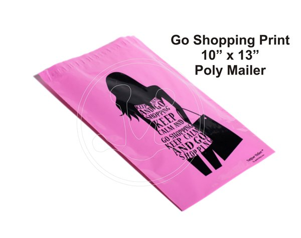 """Go Shopping Print Poly Mailers 10"""" x 13"""""""