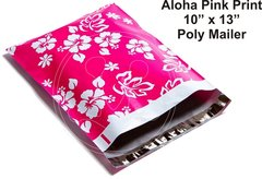 "Pink ALOHA Print Poly Mailers 10"" x 13"""