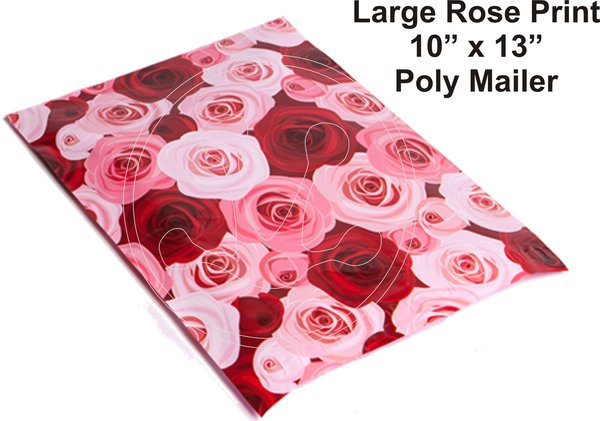 "Large Roses Print Poly Mailers 10"" x 13"""