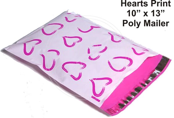 """Hearts Print Poly Mailers 10"""" x 13"""""""