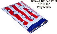 "Stars & Stripes Print Poly Mailers 10"" x 13"""