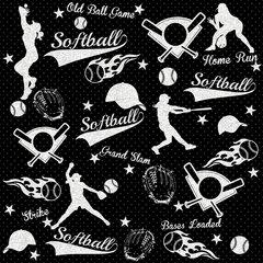 Softball Digitally Printed - Pattern 9