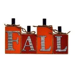 """12.5"""" x 7"""" Sitting Wood Pumpkin w/ Galvanized Letters"""