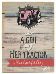 'GIRL AND HER TRACTOR' WALL SIGN