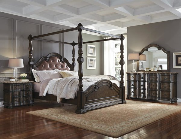 Canopy king leather bed furniture royal high end for Bedroom furniture 89102