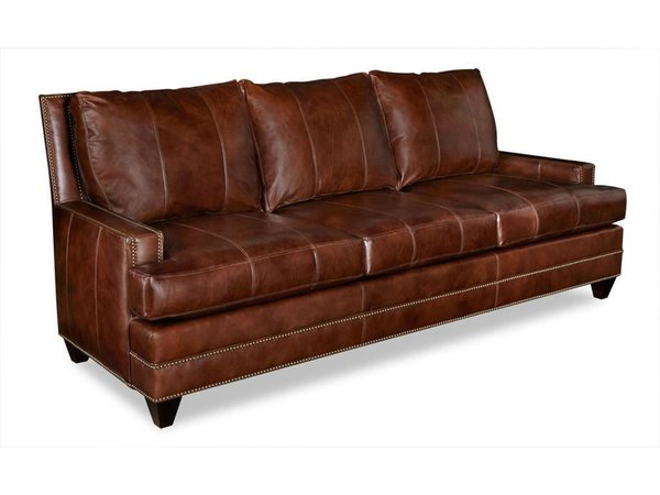 Catalina Triple Wave Back Leather Sofa Covered With Most