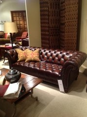 Henredon leather chesterfield sofa