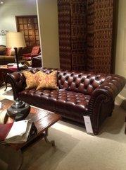 Henredon leather chesterfield sofa