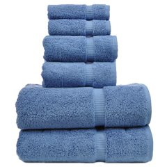 Luxury Hotel&Spa Towel 100% Genuine Turkish Cotton 6 Piece Towel Set-Wedgewood-Dobby Border