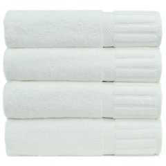 Luxury Hotel & Spa Towel 100% Genuine Turkish Cotton Bath Towels - White - Piano - Set of 4