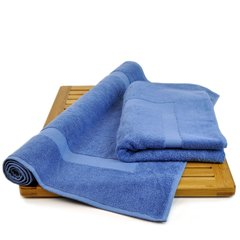 Luxury Hotel & Spa Towel 100% Genuine Turkish Cotton Bath Mats - Wedgewood-Dobby Border- Set of 2