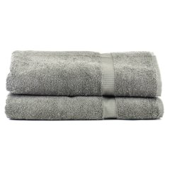Luxury Hotel & Spa Towel 100% Genuine Turkish Cotton Bath Sheets - Gray - Dobby Border - Set of 2