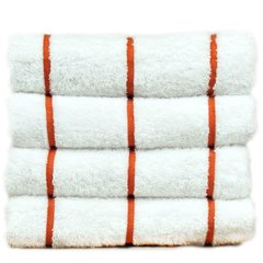 Luxury Hotel & Spa Towel 100% Genuine Turkish Cotton Pool Beach Towels - Brick Red - Stripe - Set of 2