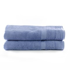 Luxury Hotel & Spa Towel 100% Genuine Turkish Cotton Bath Sheets - Wedgewood - Dobby Border - Set of 2