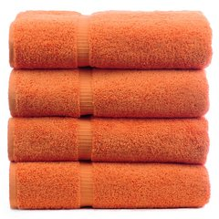 Luxury Hotel & Spa Towel 100% Genuine Turkish Cotton Bath Towels - Coral - Dobby Border - Set of 4