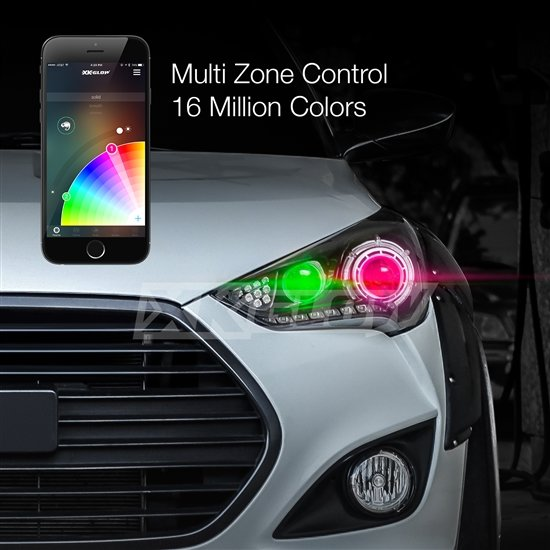 2 in 1 led headlight bulb kit xkchrome smartphone app enabled bluetooth rgb. Black Bedroom Furniture Sets. Home Design Ideas