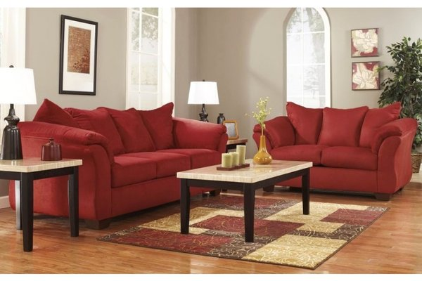 Darcy Sofa Love By Ashley Red Polyester 100 Living Rooms 4 Less