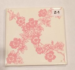 1 Pc Vtg New H&R Johnson Ceramic Pink White Flower Wall Accent Tile 4 1/4""