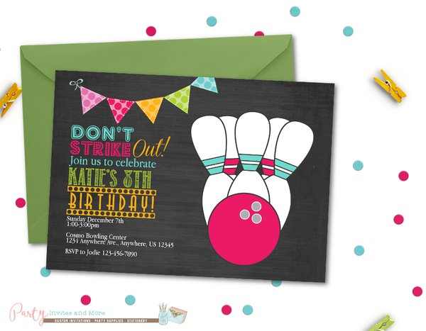 Bowling Birthday Invitation Bowling Birthday Party Chalkboard