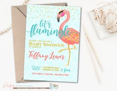 Flamingo Baby Shower Invitation in Blue, Coral and Gold