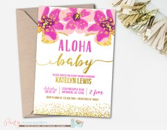Aloha Luau Baby Shower Invitation with Flowers