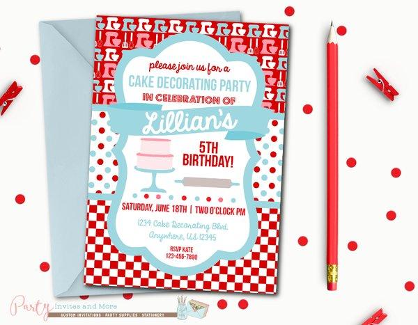 Cake Decorating Birthday Party Invitations : Cake Decorating Birthday Invitation, Baking Birthday ...