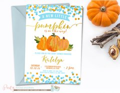 Pumpkin Baby Shower Invitation, Fall Baby Shower, Blue, White and Gold Pumpkin Invitation, Baby Shower Invitation, Blue and Gold Baby Shower