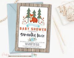 Woodland Baby Shower Invitation, Woodland Baby Shower, Woodland Invitation, Fox Baby Shower Invitation, Woodland, Winter, Fall